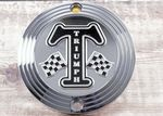 "Street Twin, Bonneville T120 & Thruxton/R. Clutch Badge/Decal. ""Chrome Grand Prix"" OEM# A9610253"